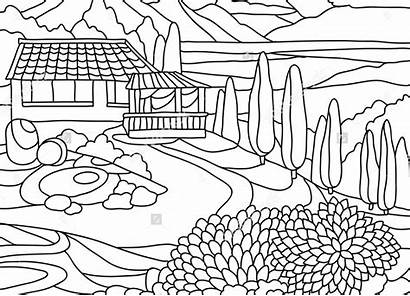 Coloring Pages Scenery Mountain Mountains Printables Landscapes