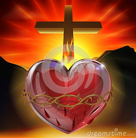 sacred heart illustration stock  image