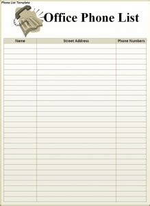phone list template  formats excel word