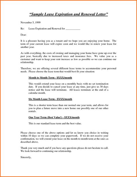 lease agreement letters 20 inspirational agreement renewal letter sample pictures