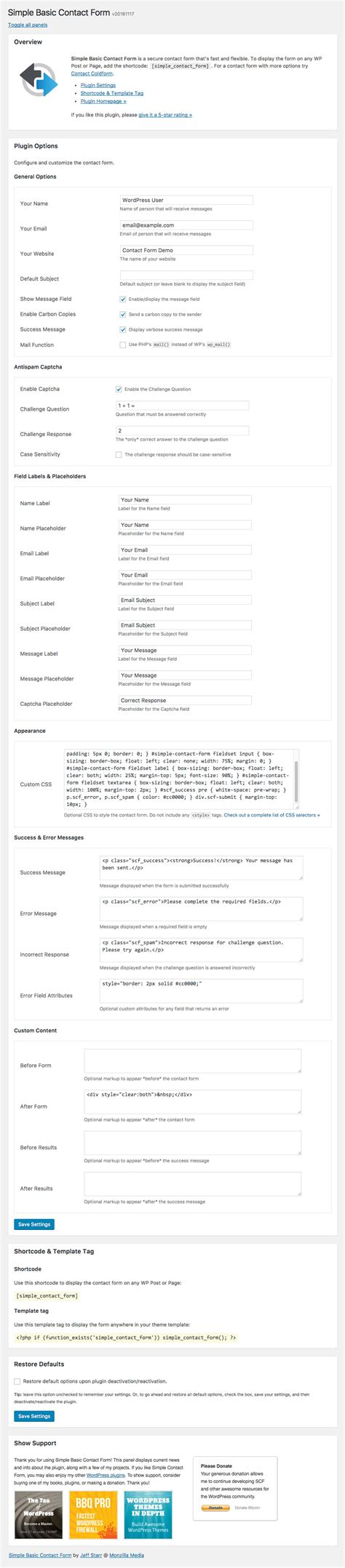 simple contact form wordpress plugin simple basic contact form perishable press