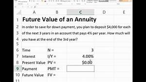 Formula For Annuity Future Value Of An Ordinary Annuity In Excel Youtube