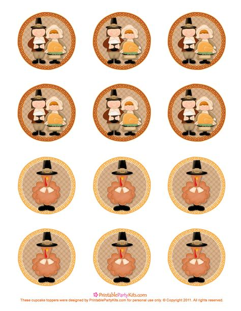 thanksgiving printables cupcake toppers printable