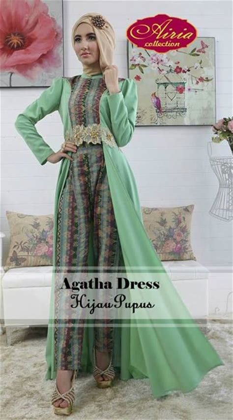aghata dress hijau pupus baju muslim gamis modern