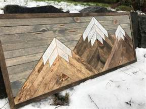 small  rustic wood mountains wall art
