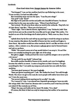 """Close Read of """"Hunger Games"""" excerpt with text dependent"""