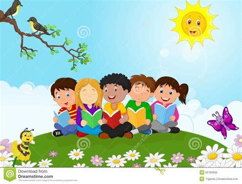 happy children cartoon sitting   grass  reading