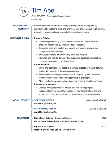 resume examples view  industry job title