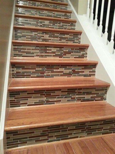 Tile on stair risers.   Home Decor   Pinterest   Stair