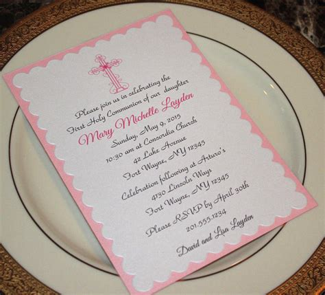 CUSTOM GIRL FIRST HOLY COMMUNION / BAPTISM INVITATION