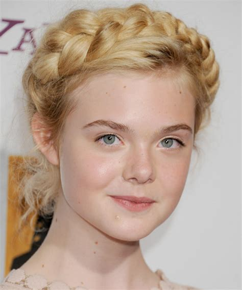 elle fanning formal long curly braided updo hairstyle