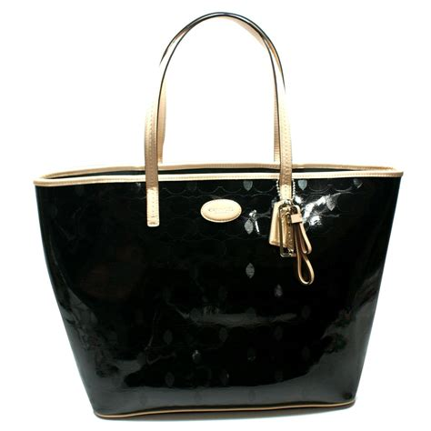coach metro embossed leather large tote bag black  coach
