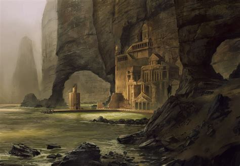 digital art fantasy art cliff rock  building