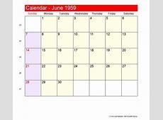 June 1959 Roman Catholic Saints Calendar