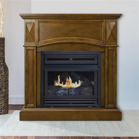 gas fireplace mantel gets pleasant hearth compact 36 in vent free gas fireplace in