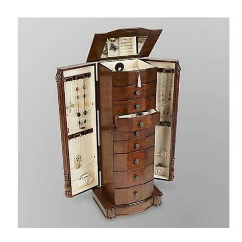 mirrored jewelry armoire tall storage chest stand wood box