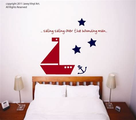 Nautical Wall Decals For Nursery by Items Similar To Nautical Nursery Sailboat Wall Decal