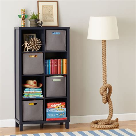 navy blue bookcase eight cube bookcase navy the land of nod 1056