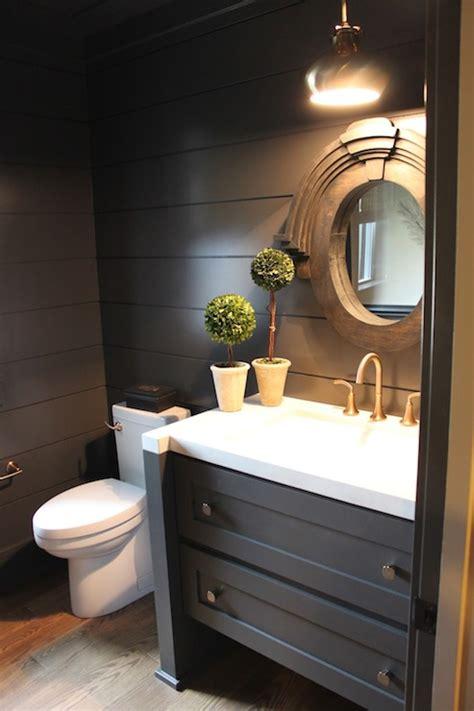 black powder room cottage bathroom  fat hydrangea