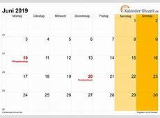Juni 2019 Kalender mit Feiertagen