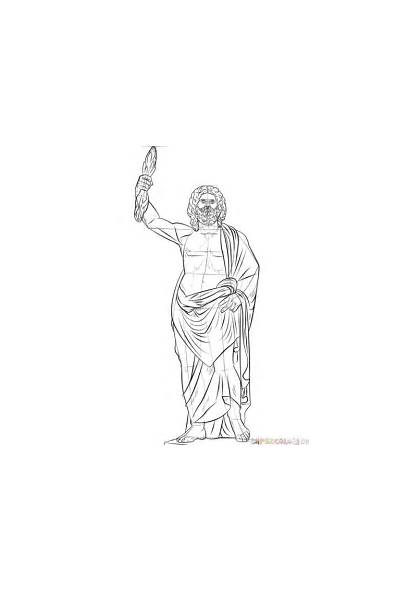 Zeus God Drawing Draw Coloring Greek Step
