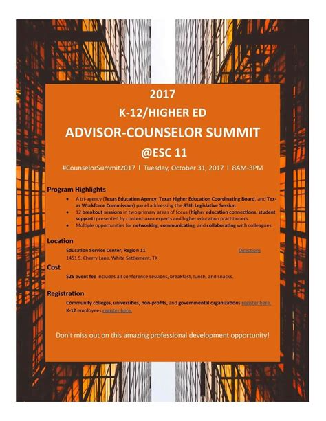higher ed advisor counselor summit north texas