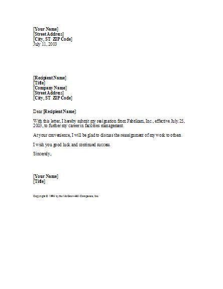 basic  professional sample resignation letter template