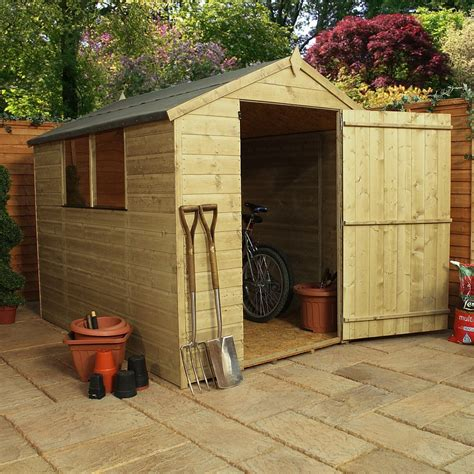 Shiplap Garden Sheds - 8ft x 6ft waltons shiplap pressure treated apex wooden