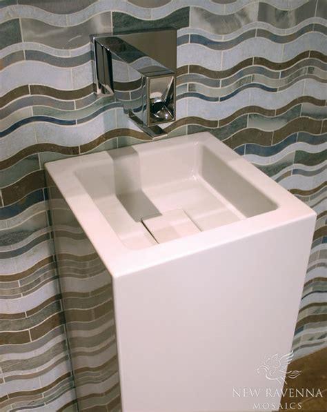 tiles for kitchen backsplash blue waves mosaic contemporary tile other 7694
