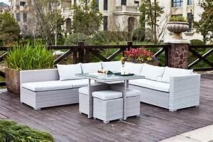 Resine Salon De Jardin : fidji gris blanc salon de jardin resine mobilier de jardin ~ Dailycaller-alerts.com Idées de Décoration
