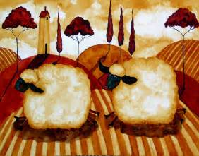 Hubbs Art Folk Prints Farm Animals Italian French Country Sheep Lamb