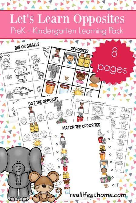 opposites worksheets  kindergarten  preschool