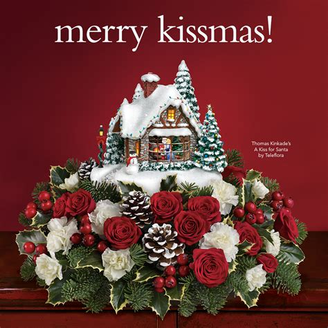 thomas kinkade s a kiss for santa teleflora centerpiece
