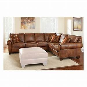 2 piece leather sectional in metamorphosis camel for Sectional sofas nebraska furniture mart