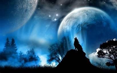 Wolf Windows Wallpapers Huilende Fantasie Dieren Blauw