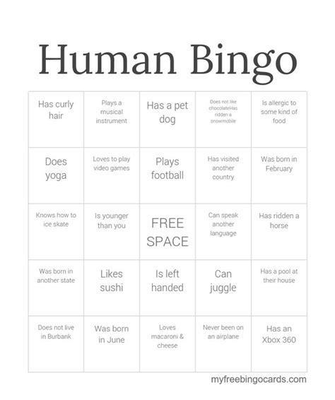 printable bingo cards activities human bingo