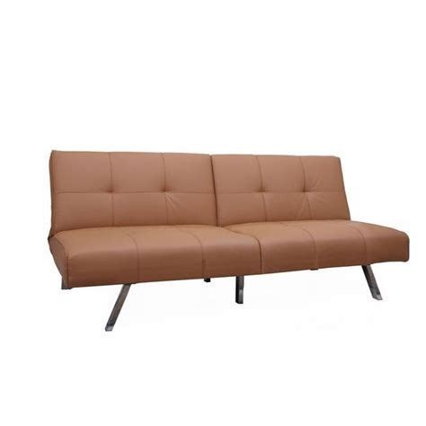 Brika Home Faux Leather Convertible Sofa In Camel Br 526749