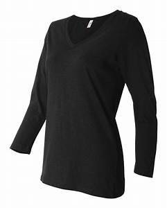 Bella T Shirt Color Chart Bella Three Quarter Sleeve Jersey V Neck T Shirt