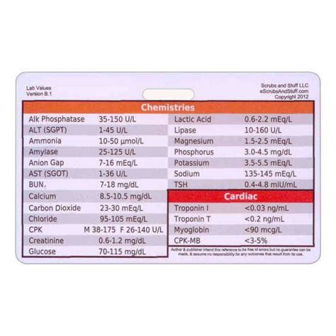 laboratory values badge card reference  scrubsandstuff