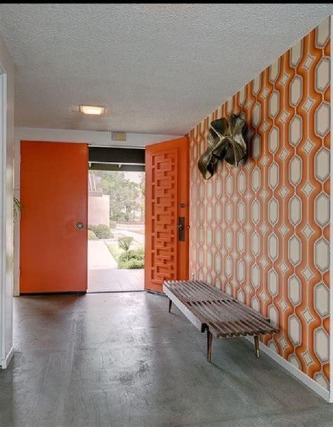 orange geometric mid century modern doors midcentury atomic ranch house sliding