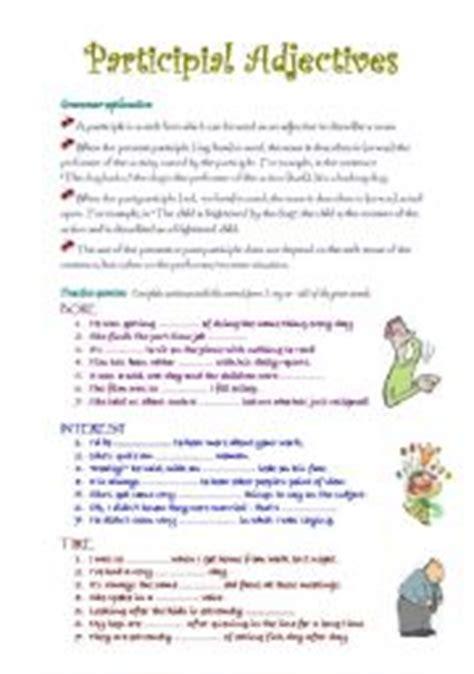 worksheets participial adjectives