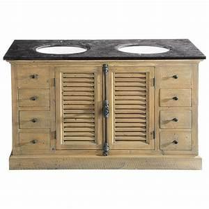 meuble salle de bain double vasque en bois et pierre bleue With salle de bain double vasque bois