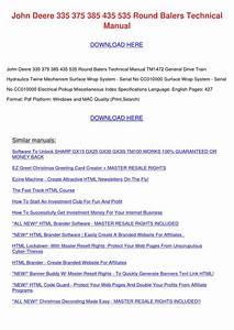 John Deere 335 375 385 435 535 Round Balers T By