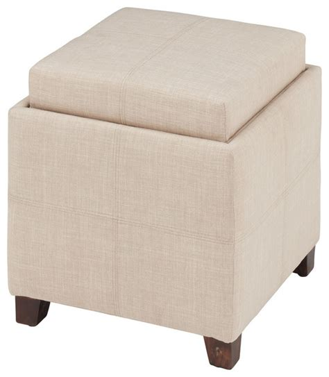reversible ottoman coffee table fabric storage ottoman with reversible tray transitional