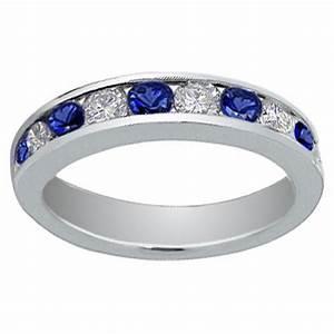 100 Ct Round Cut Diamond And Blue Sapphire Wedding Band Ring