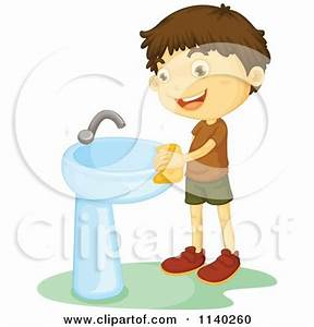 Cartoon Of A Happy Brunette Boy Flushing A Toilet ...