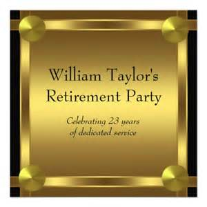 wedding memorial wording mens retirement party invitation black and gold