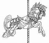 Coloring Horse Pages Carousel Flying Animals Horses Jumping Colouring Adult Sheets Printable Adults Advanced Colour Animal Drawings Print Sketch Tattoos sketch template