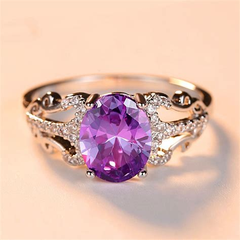 cute fashion purple oval stone ring silver wedding ring promise engagement rings for