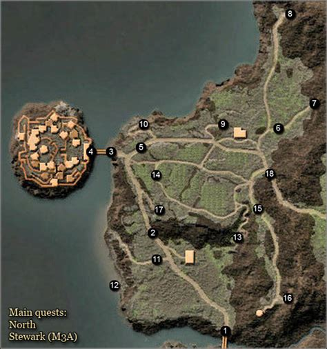 maps north stewark main quests arcania gothic  game